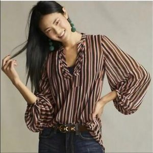 Cabi | Striped Blouse w/ Balloon Sleeves